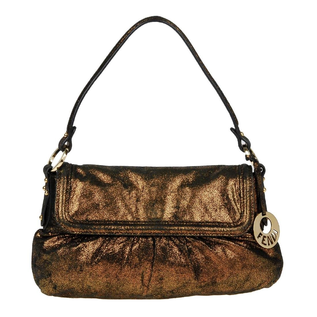 FENDI - a bronze metallic Chef Flap handbag. Designed