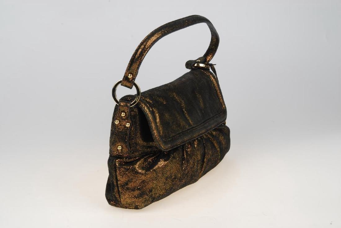 FENDI - a bronze metallic Chef Flap handbag. Designed - 5