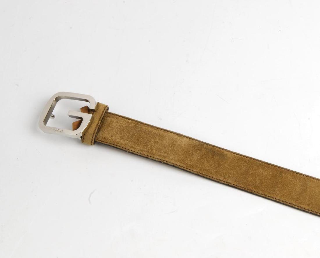 GUCCI - a suede belt. Crafted from beige suede, with a - 2