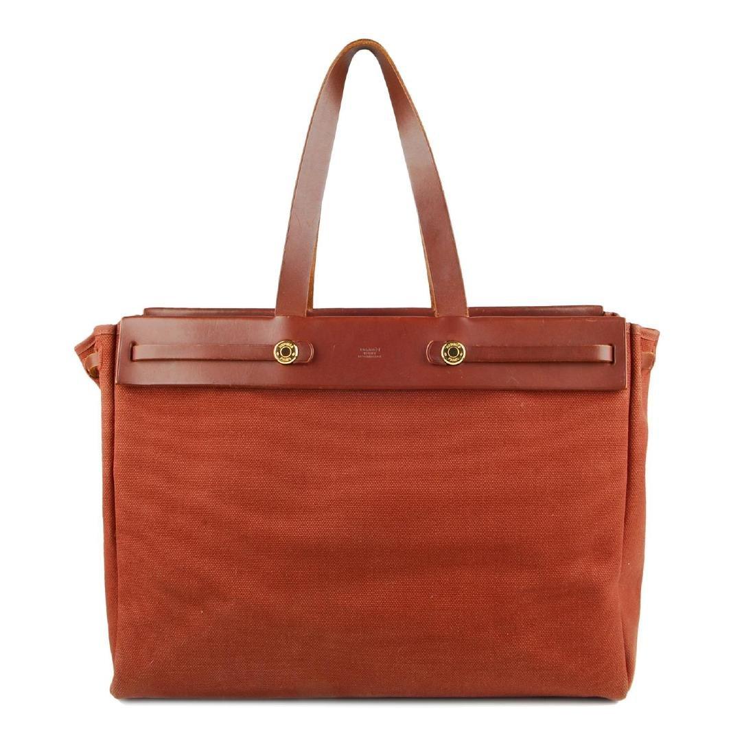 HERMÈS - a toile 2-in-1 Herbag Cabas MM handbag. A