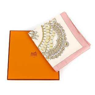 HERMÈS - a pink  Kosmima  silk scarf. d75ac4b8a07
