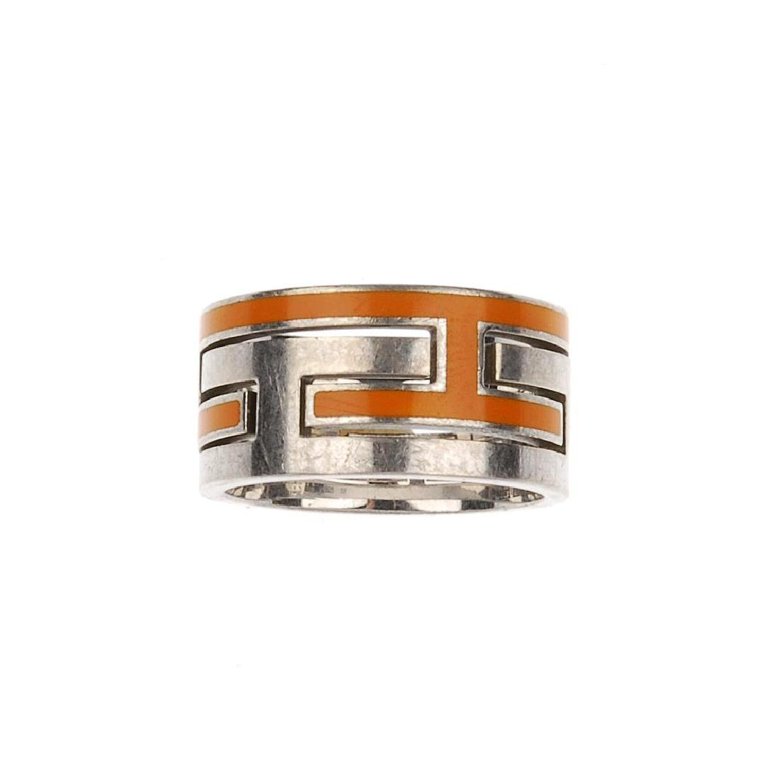 HERMÈS - a Move H ring. The silver-tone ring, designed