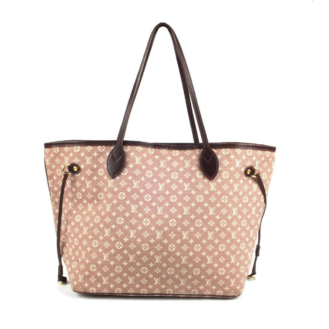 LOUIS VUITTON - a burgundy Idylle Neverfull MM handbag.