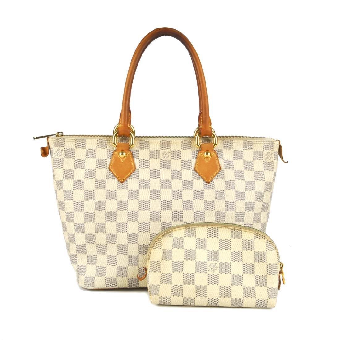 LOUIS VUITTON - a Damier Azur Saleya handbag and a