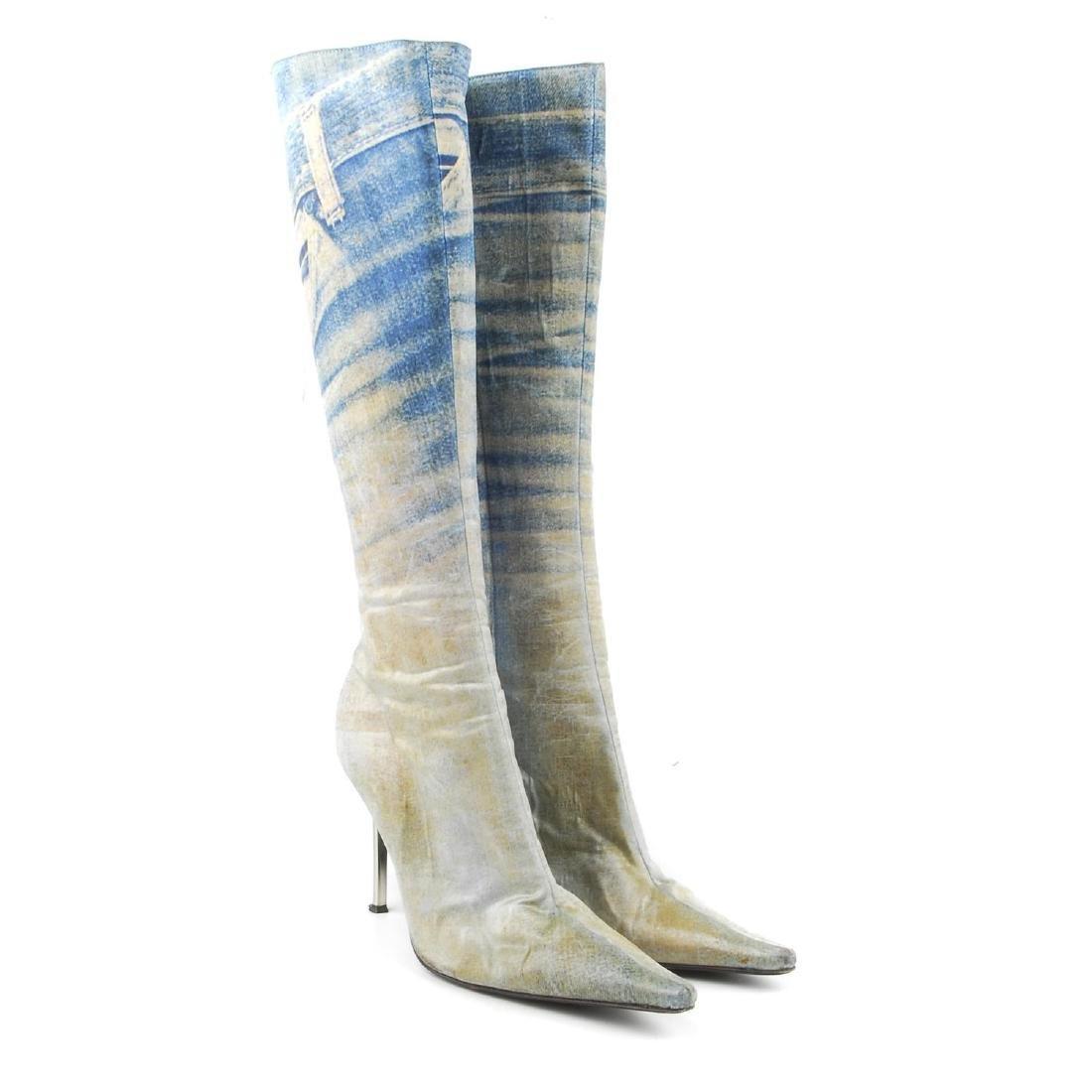 ROBERTO CAVALLI - a pair of 'denim look' boots.