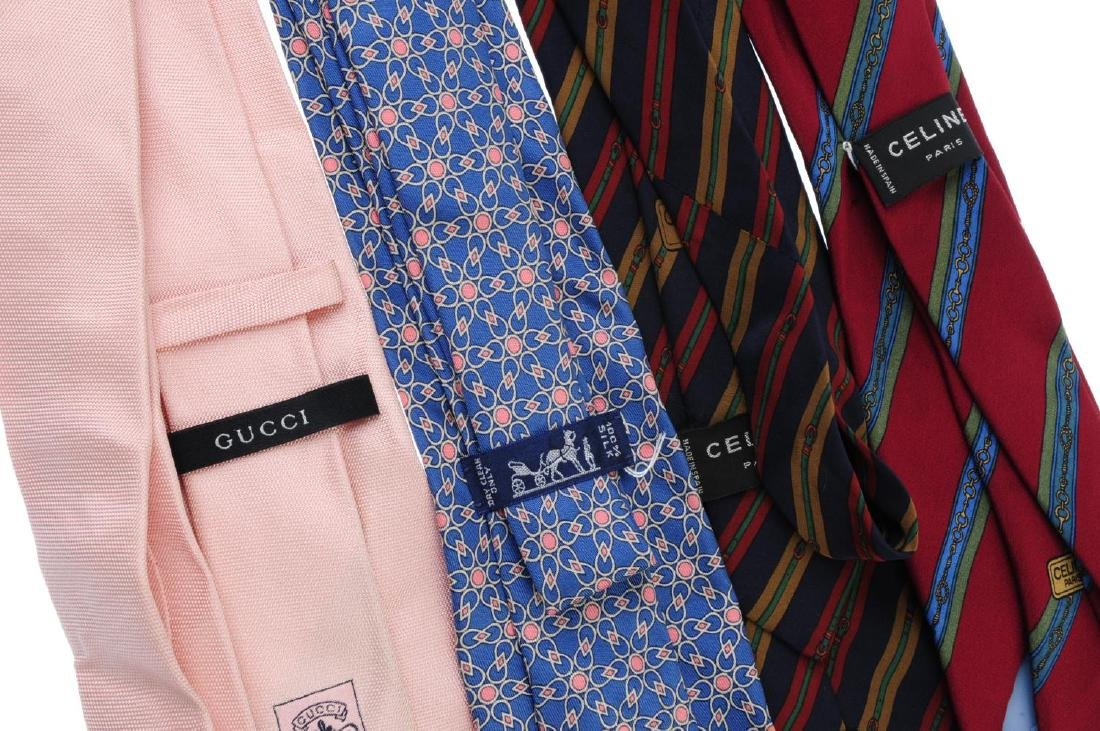 Eight ties. To include three Céline ties, two Gucci - 2