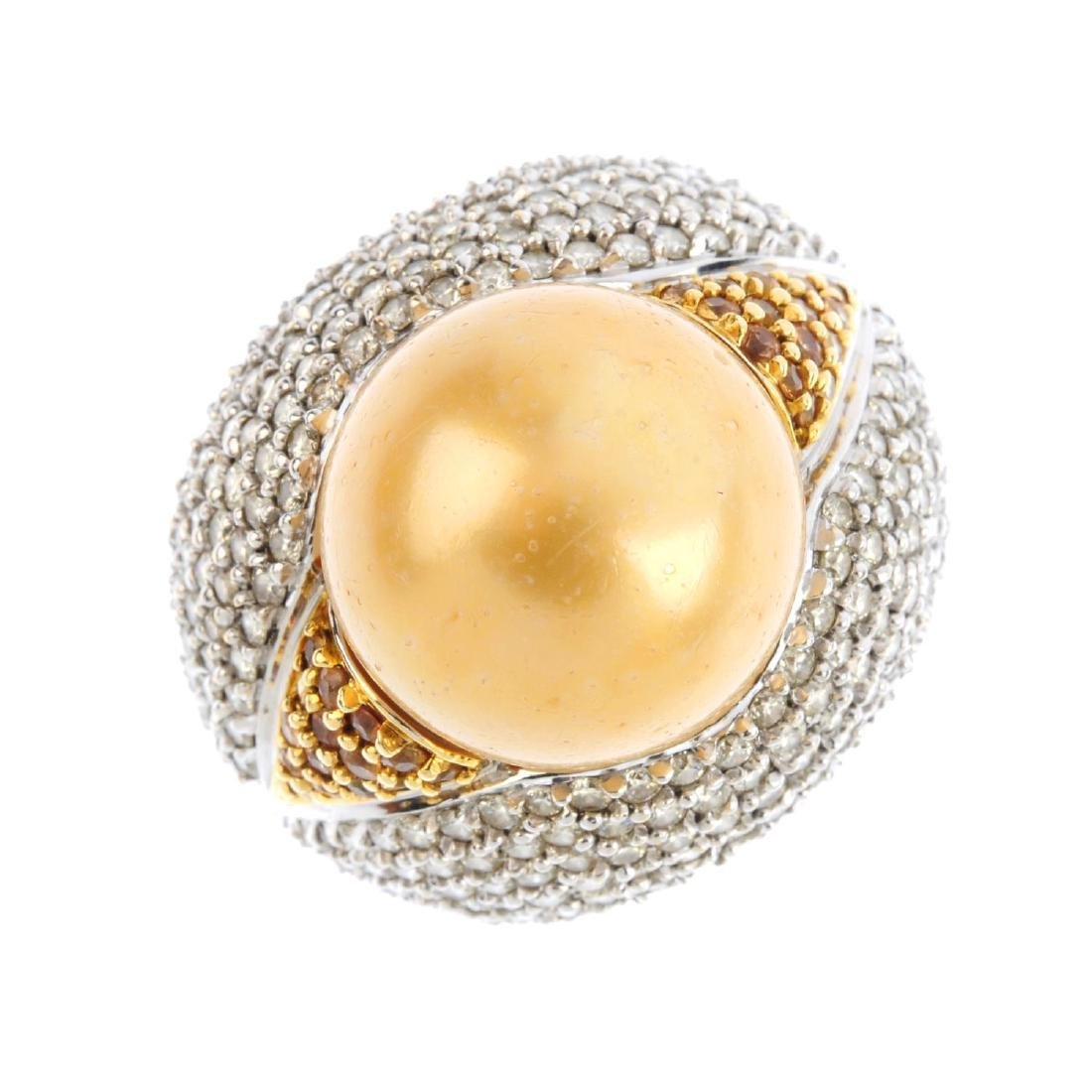 A dyed cultured pearl and diamond dress ring. The dyed