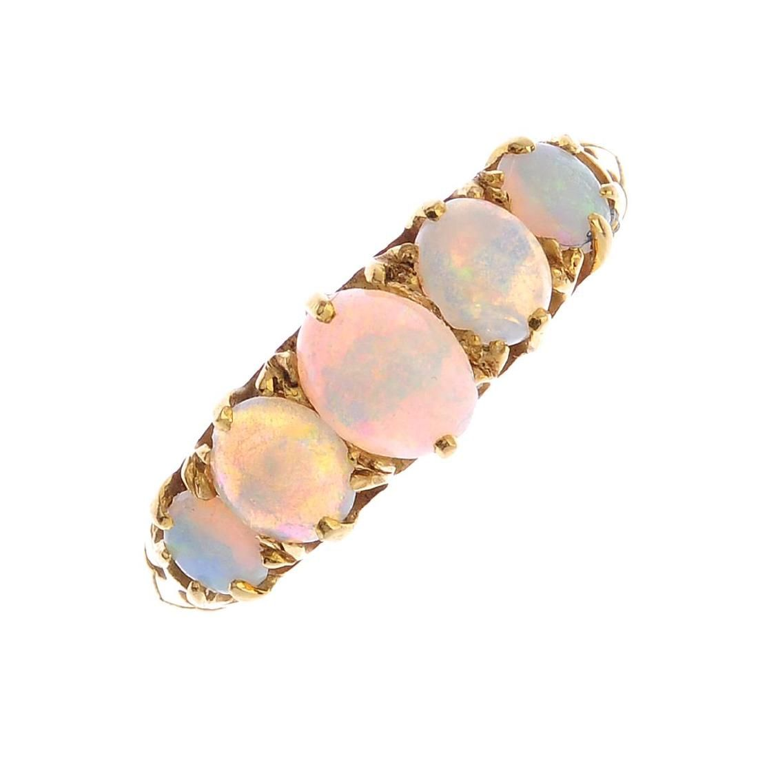An 18ct gold opal five-stone ring.Designed as a