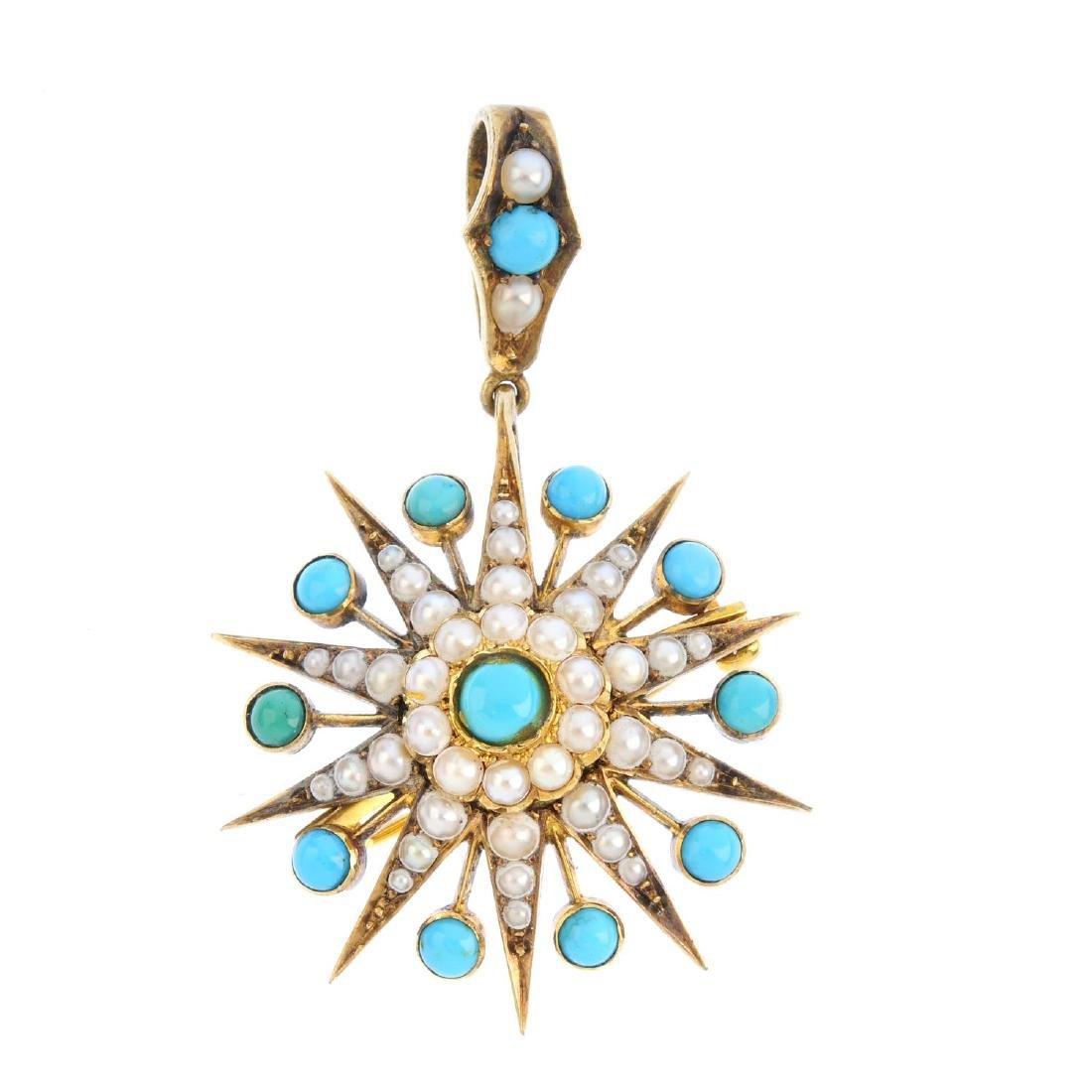 A late Victorian 15ct gold gem-set pendant. The split