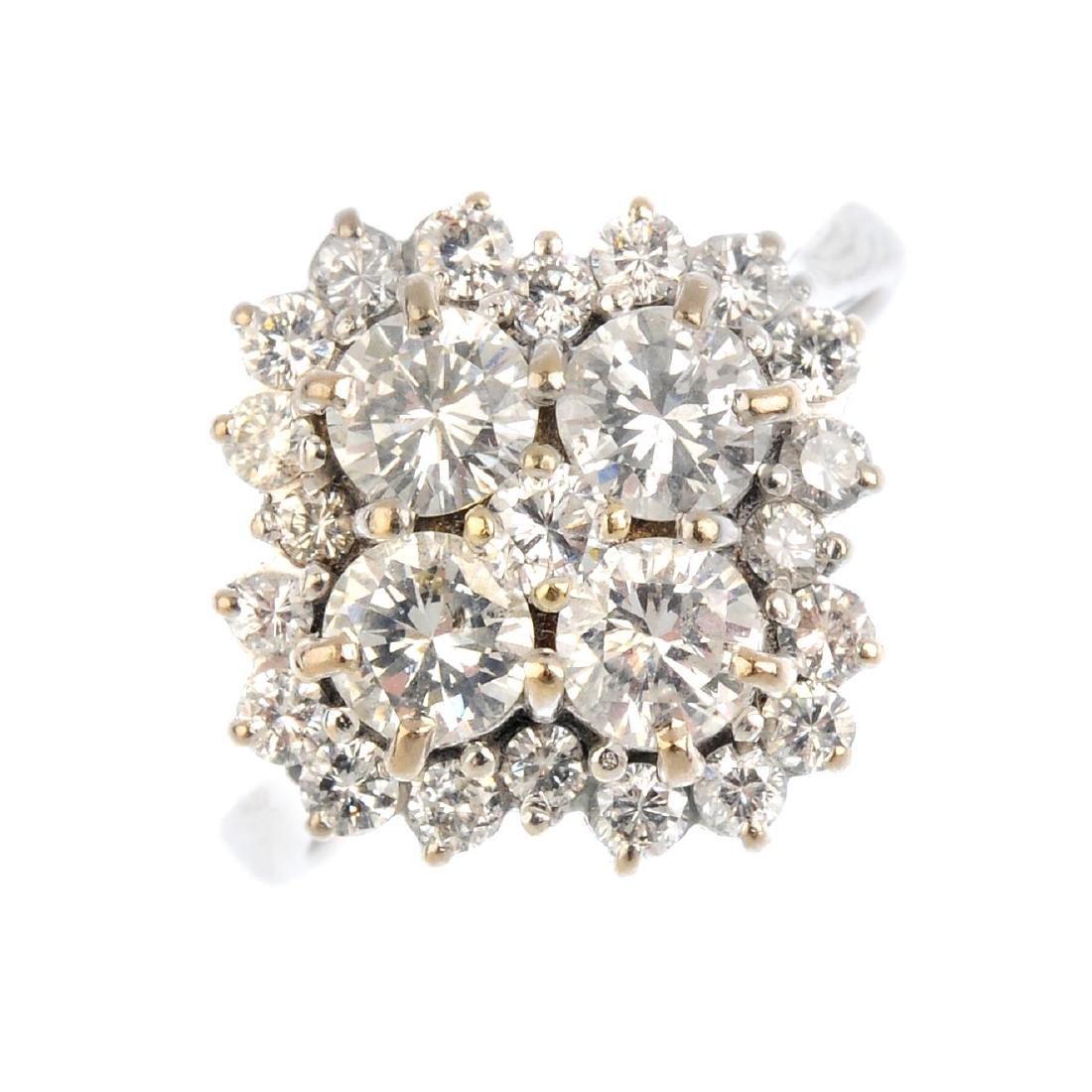A diamond cluster ring. The brilliant-cut diamond