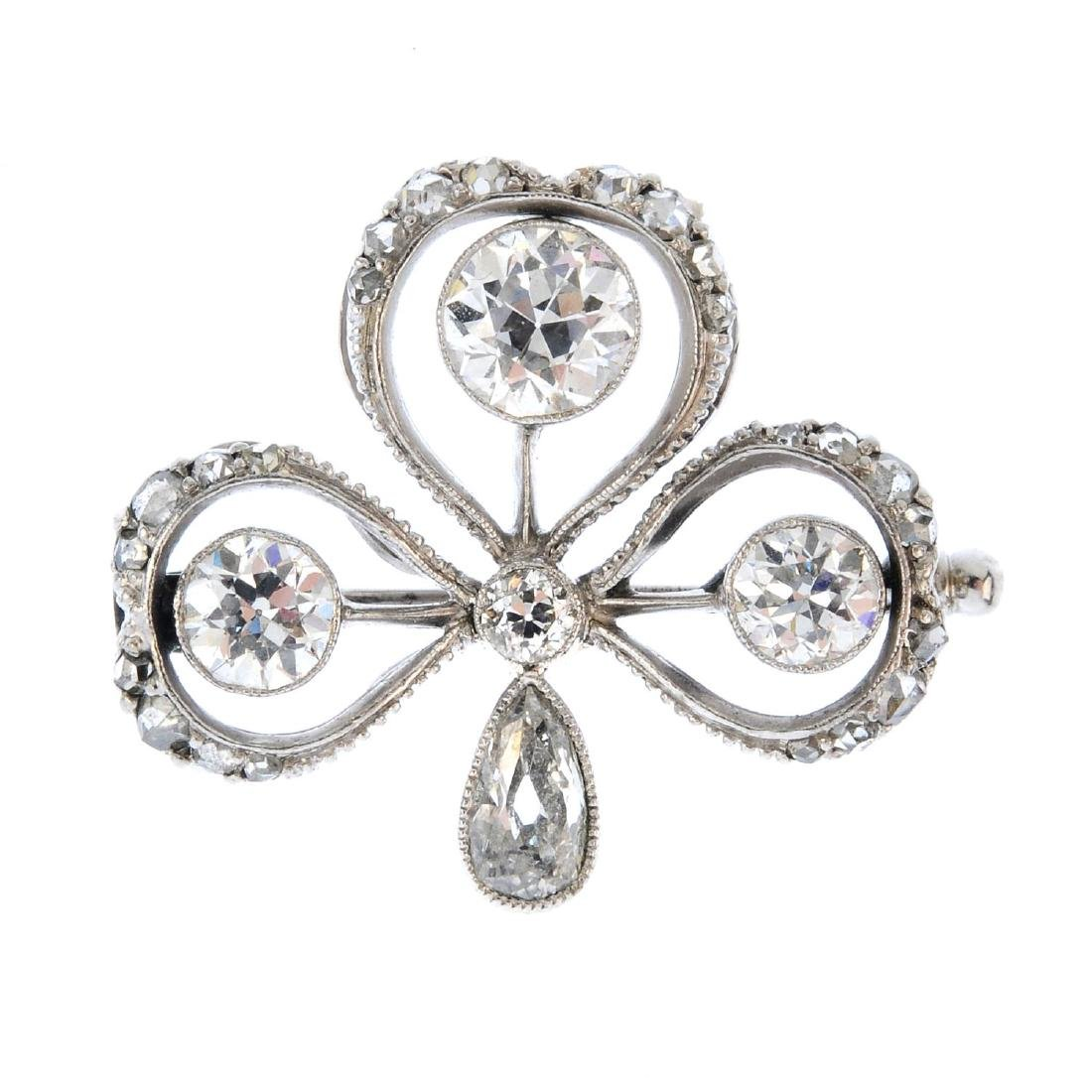 An early 20th century diamond brooch. Designed as a
