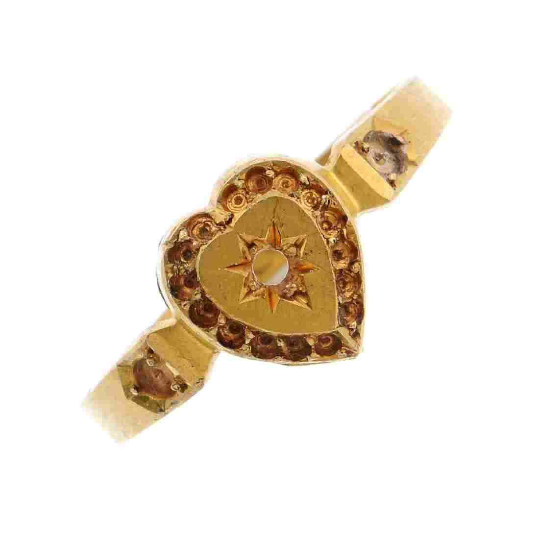A late Victorian 18ct gold ring mount. Designed as a