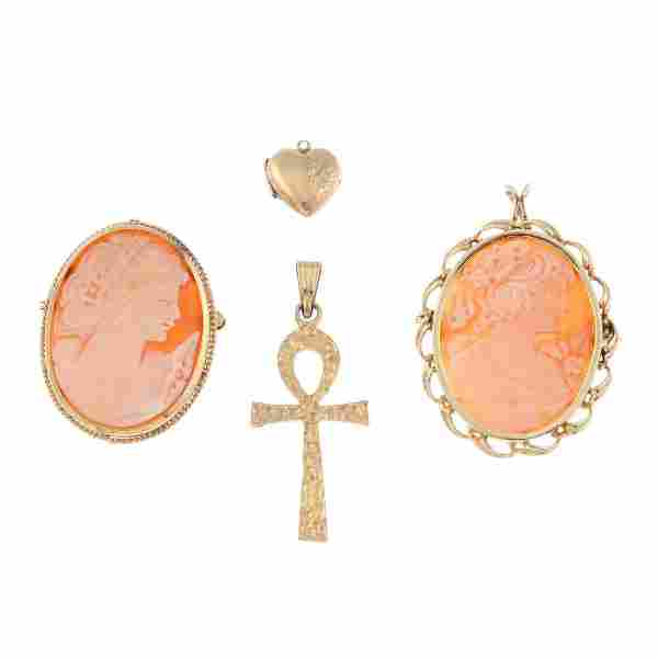 Six items of jewellery. To include a 9ct gold watch,