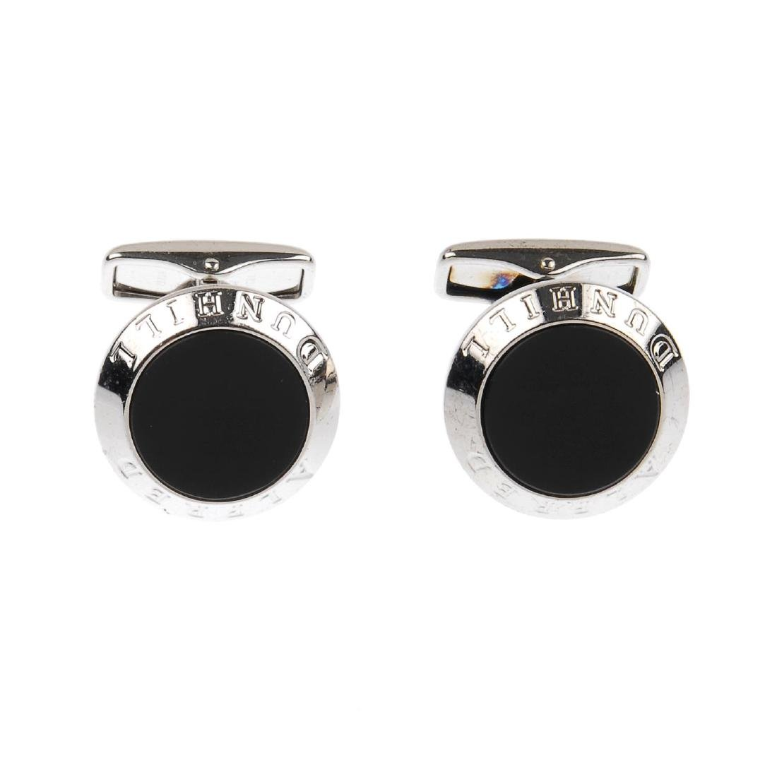 ALFRED DUNHILL - two pairs of cufflinks. The first flat