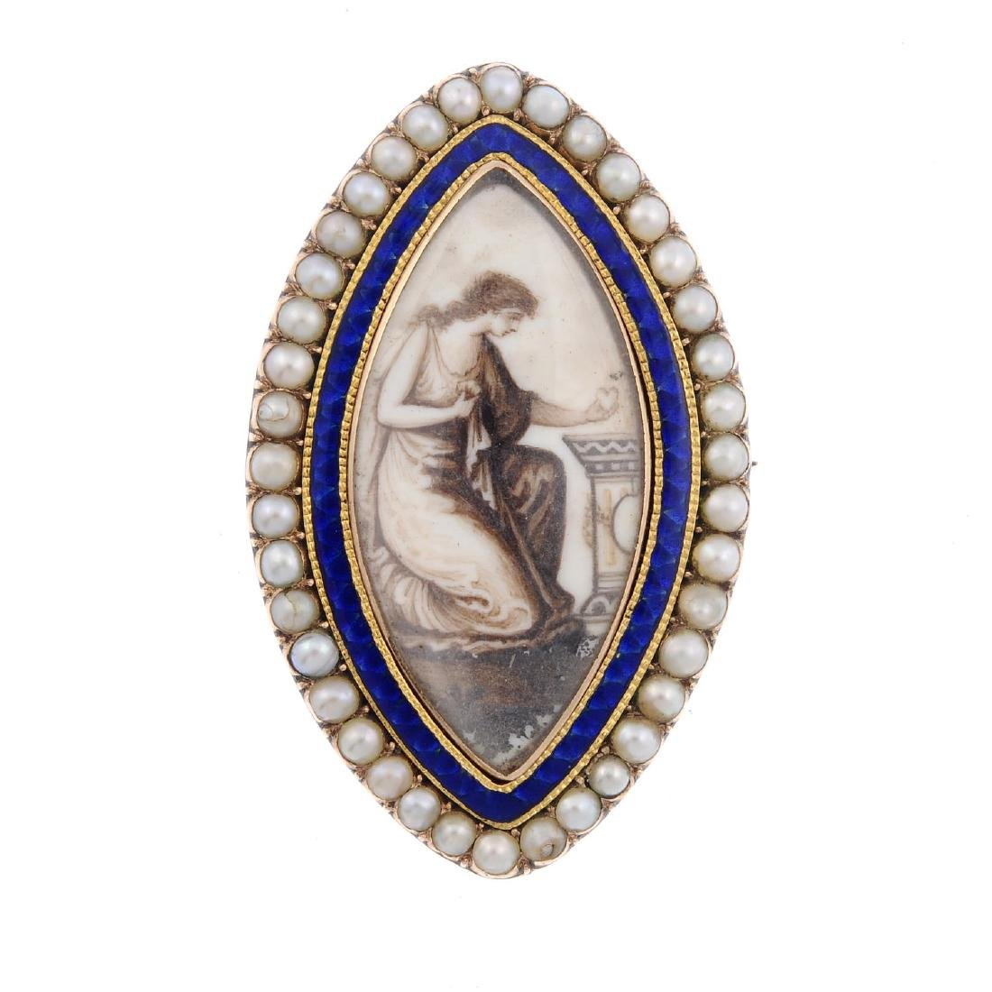 A late Georgian split pearl and enamel mourning brooch.