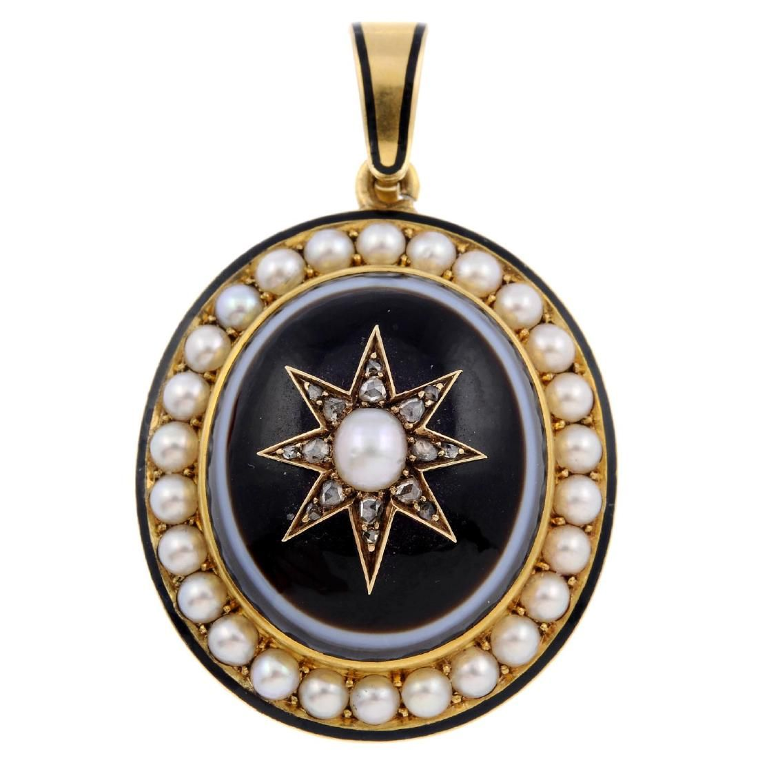A mid Victorian gold banded agate, split pearl and