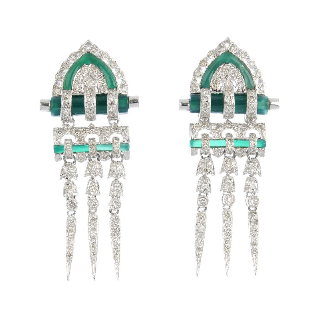A pair of diamond and chalcedony earrings. Each