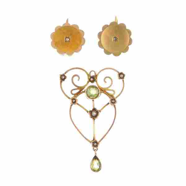 Two early 20th century gold gem-set jewellery items. To