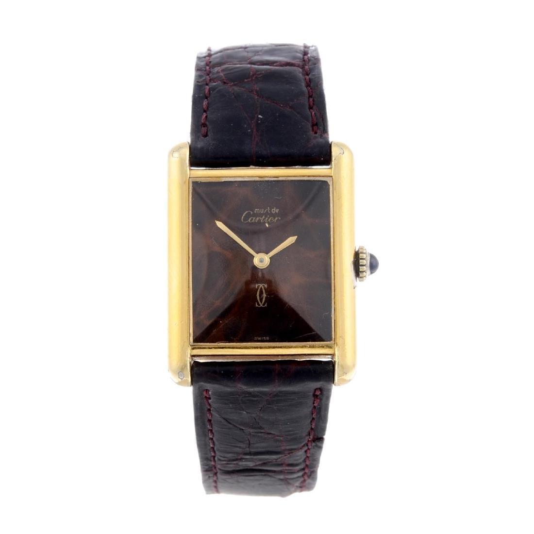 CARTIER - a Must De Cartier Tank wrist watch. Gold