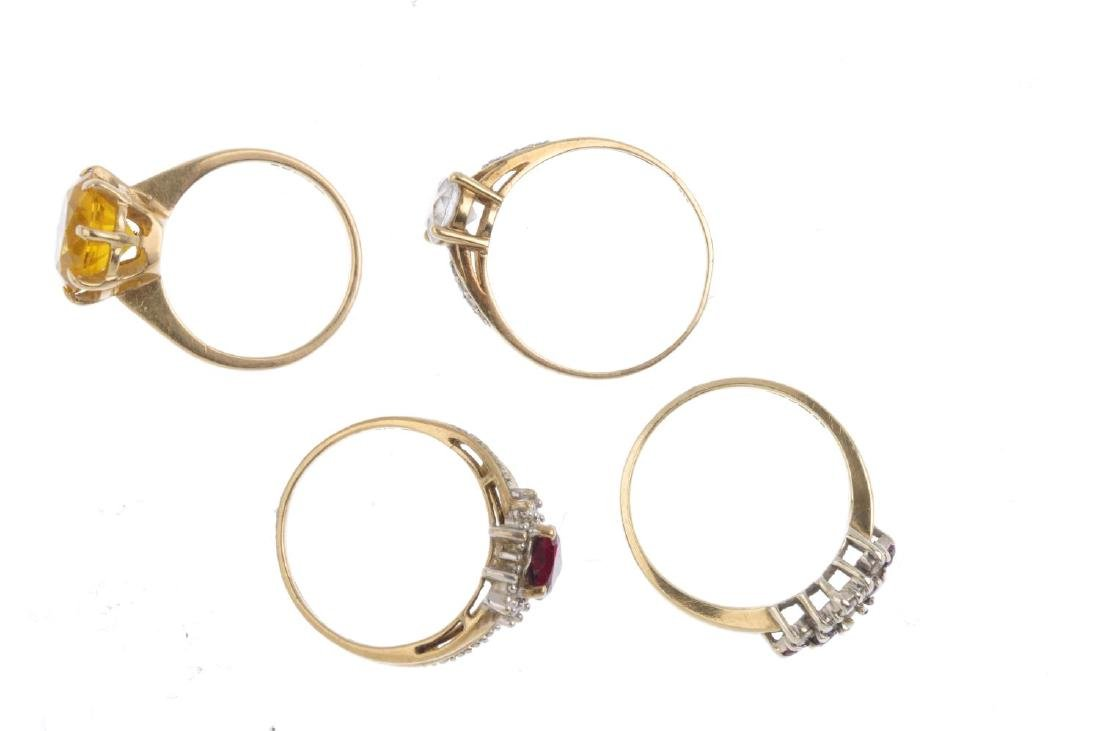 Four 9ct gold gem-set rings. To include a citrine - 2