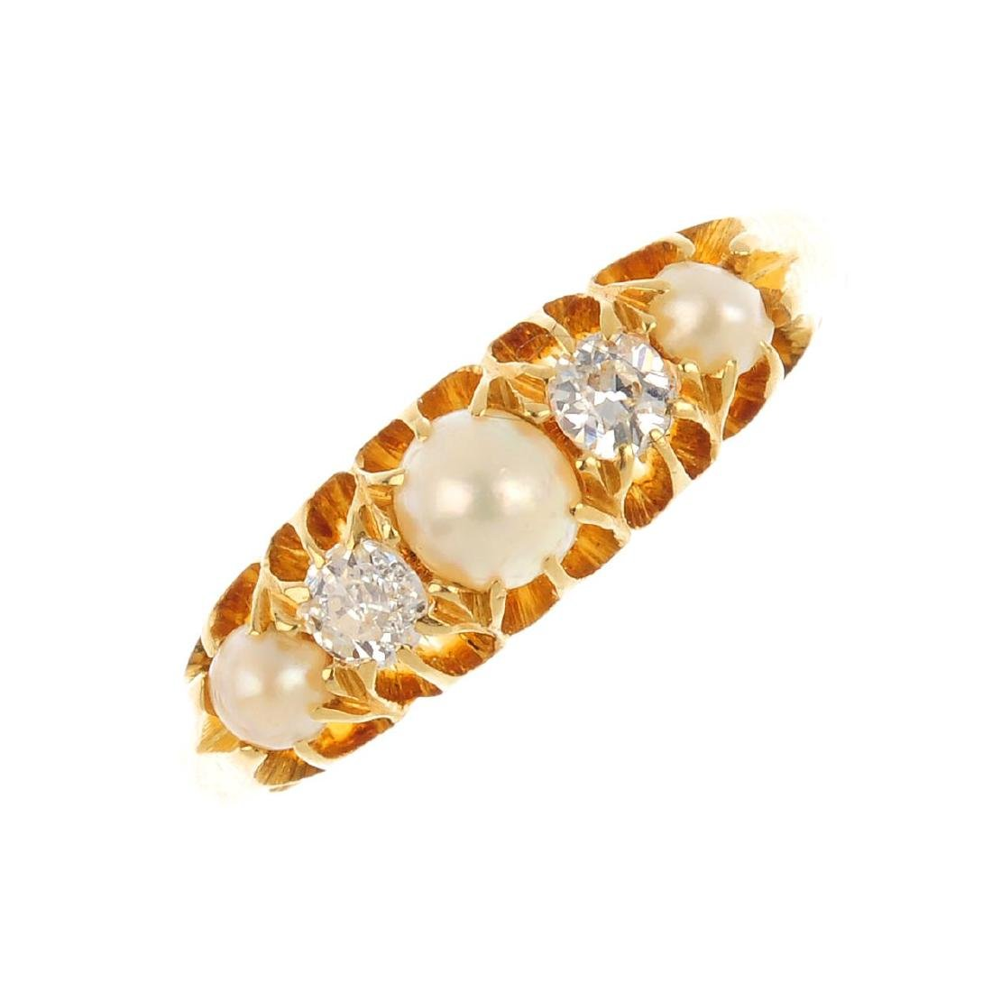 An early 20th century 18ct gold split pearl and diamond