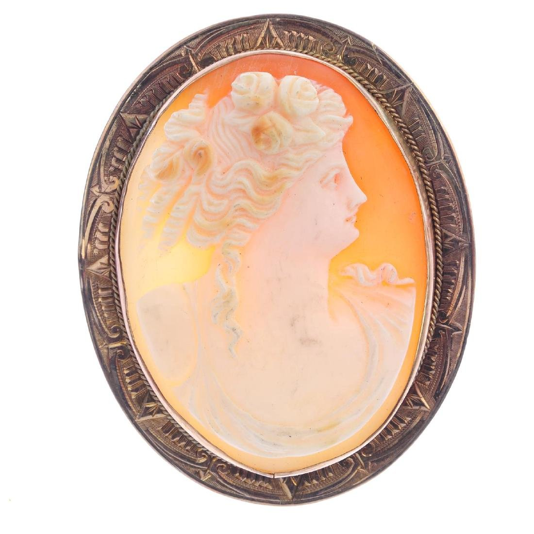 A shell cameo brooch. Of oval outline, carved to depict