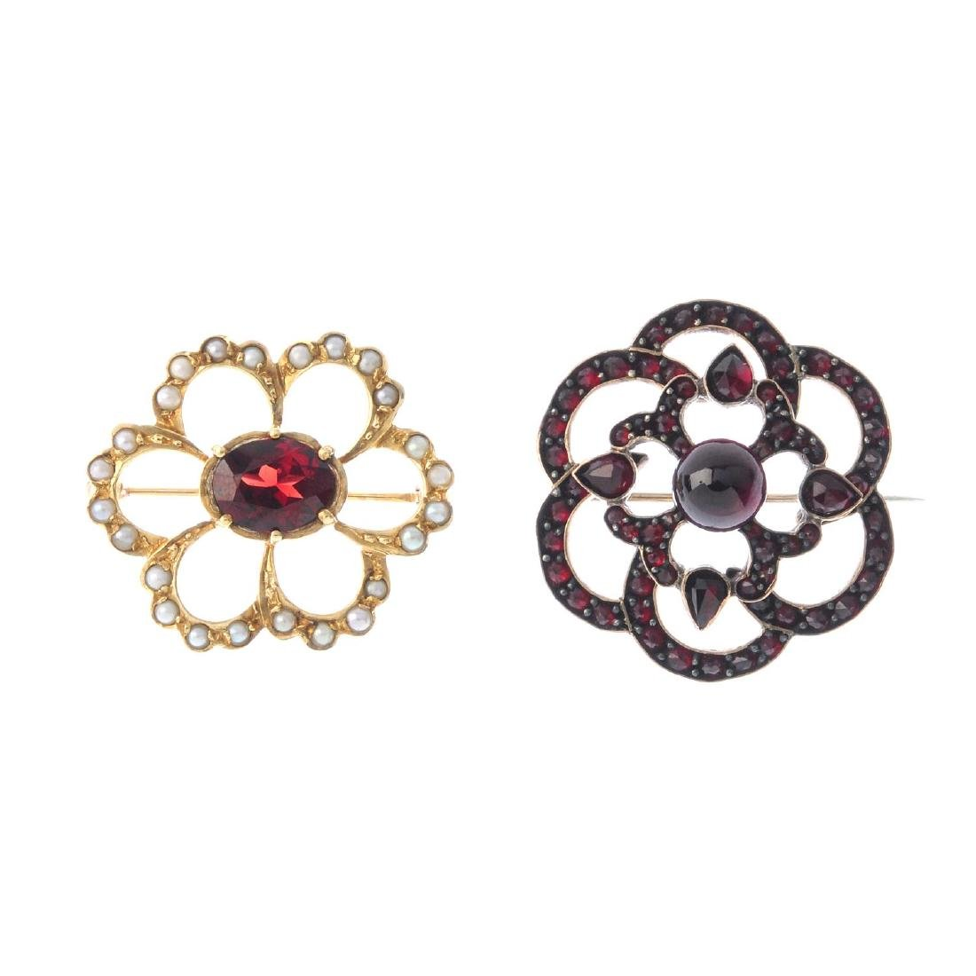 Two gem-set brooches. Both of openwork design, to