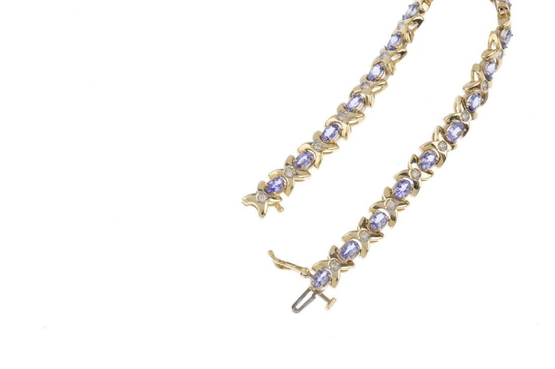 A tanzanite and diamond bracelet. Designed as a series - 3