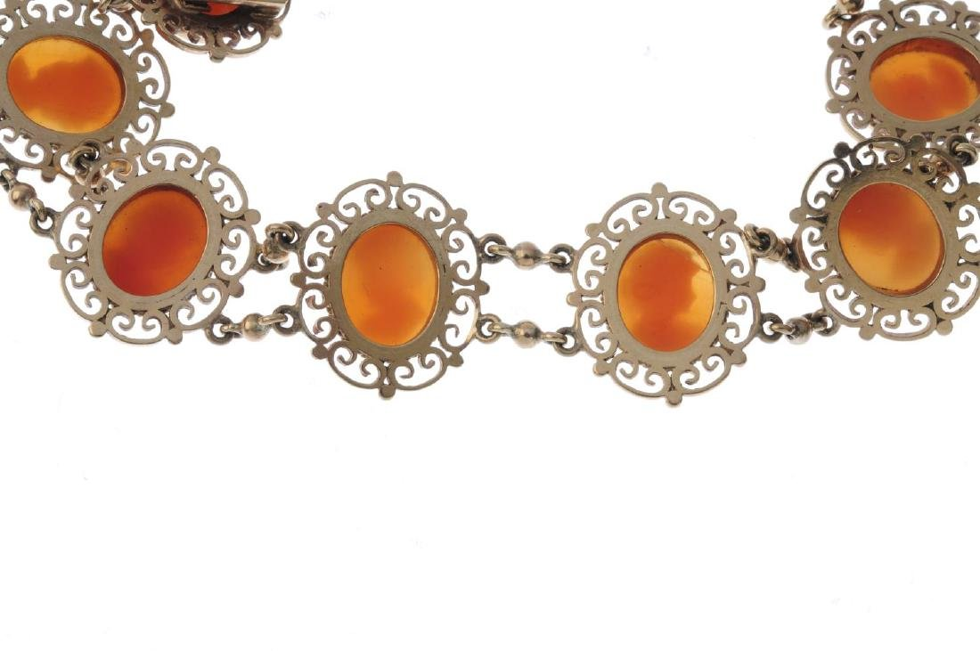 A 9ct gold shell cameo bracelet. Designed as a series - 2