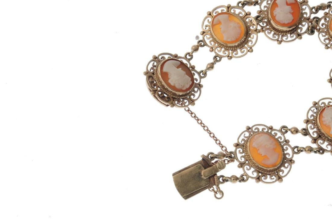 A 9ct gold shell cameo bracelet. Designed as a series - 3