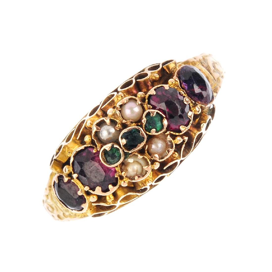 A late Victorian 15ct gold multi gem-set ring. The