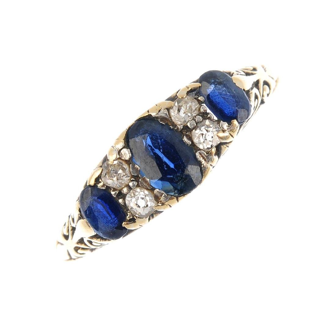 A late Victorian gold sapphire and diamond ring.