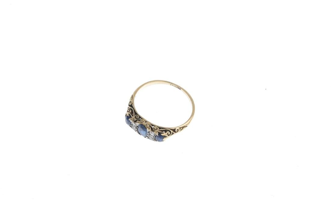 A late Victorian gold sapphire and diamond ring. - 3