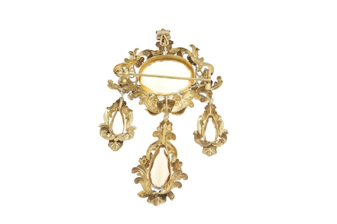 An early Victorian gold and citrine pendant. Designed - 2