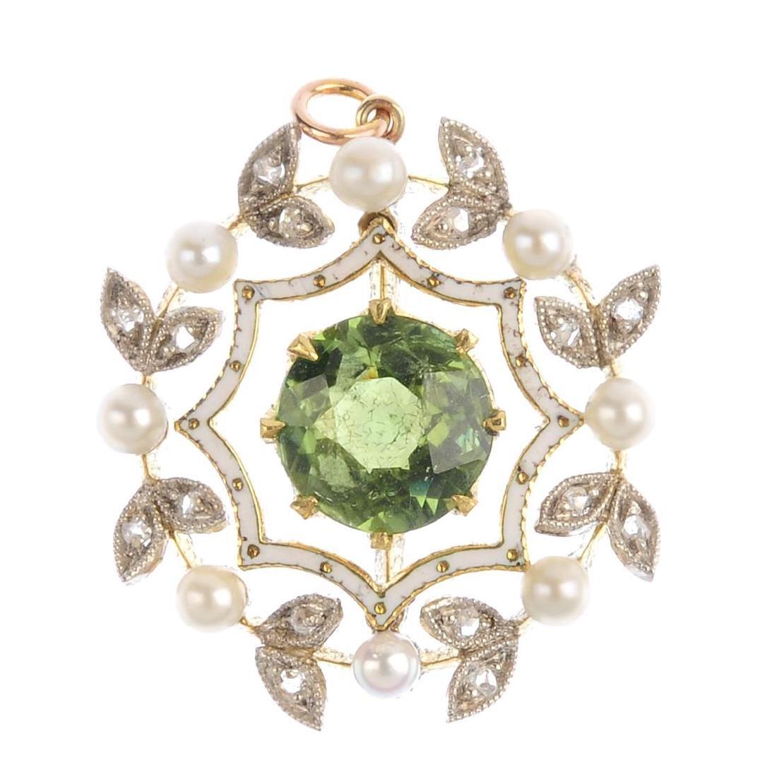 An early 20th century peridot, seed pearl and diamond