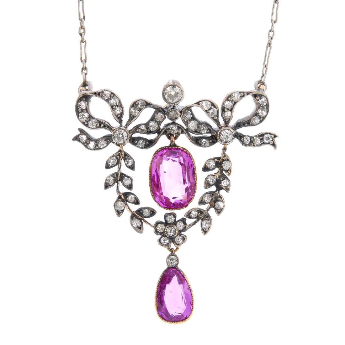An early 20th century Burmese sapphire and diamond