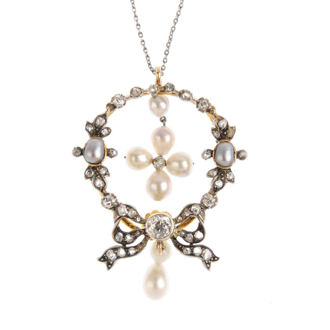A late 19th century pearl and diamond pendant. The