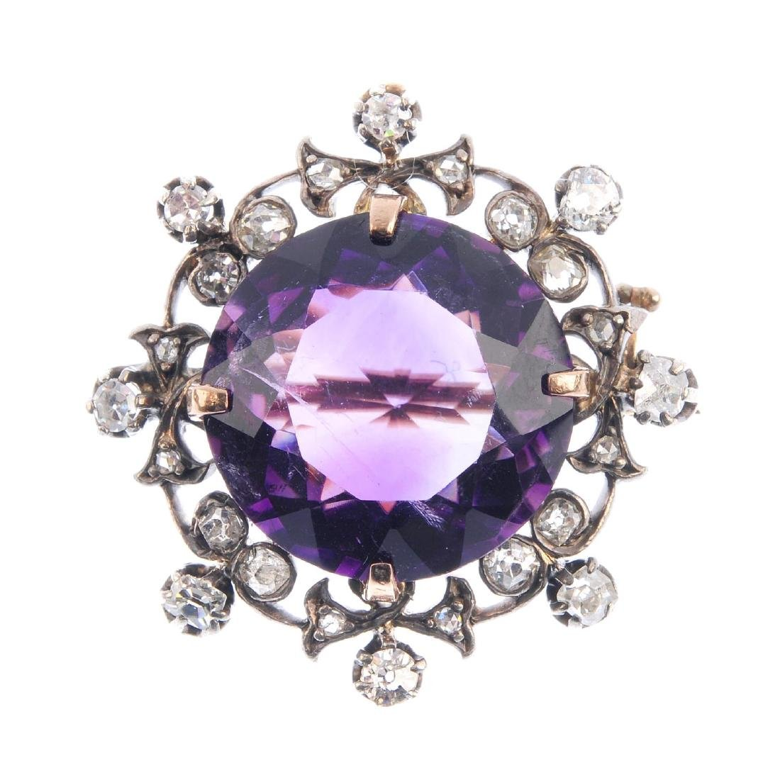 An early 20th century amethyst and diamond brooch. The