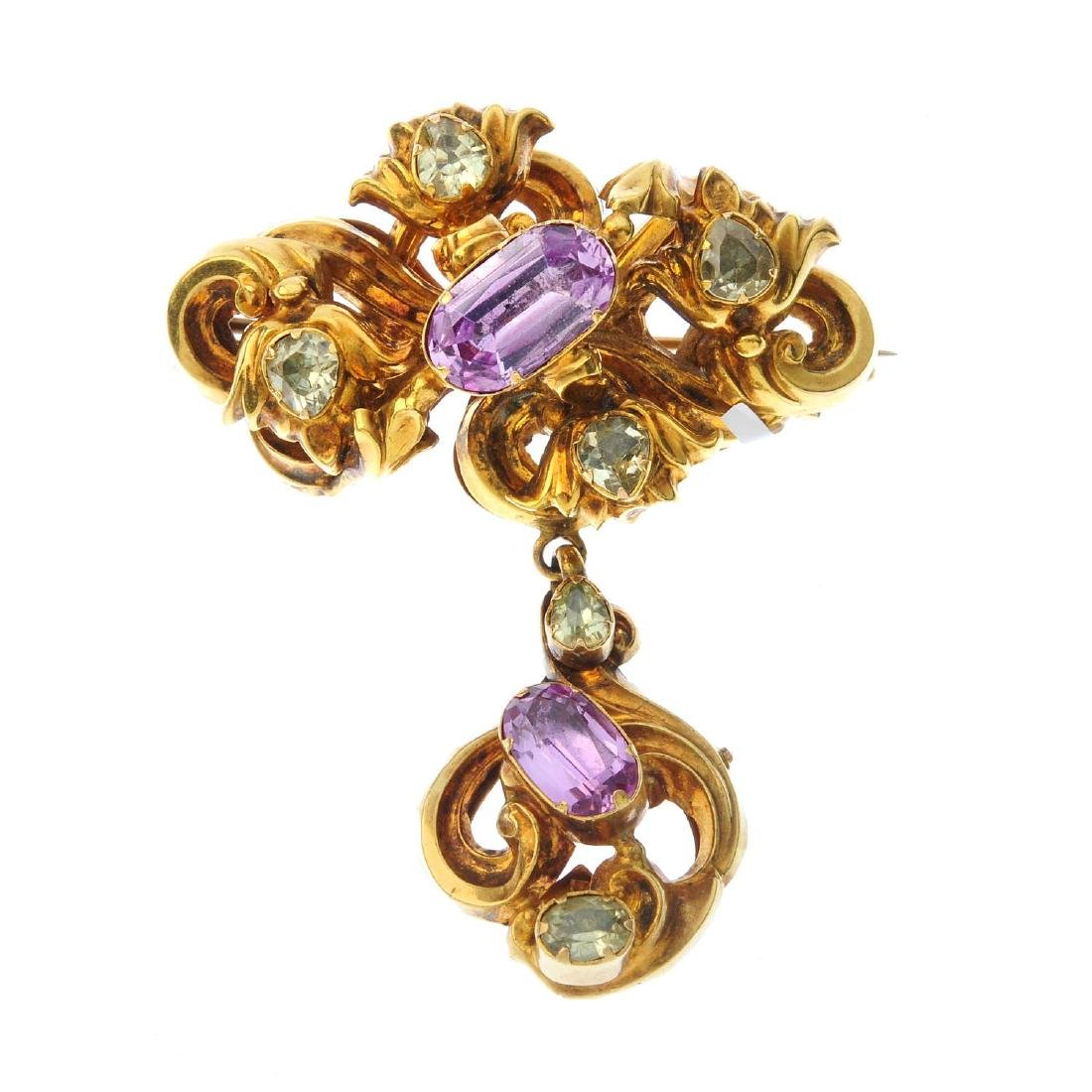A mid Victorian gold foil-back topaz and chrysoberyl