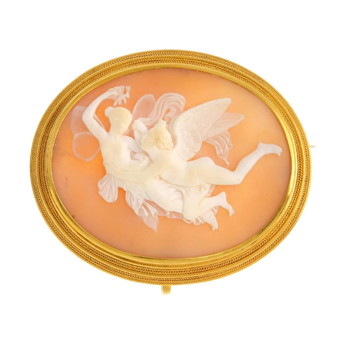 A mid Victorian gold mounted shell cameo brooch. Carved