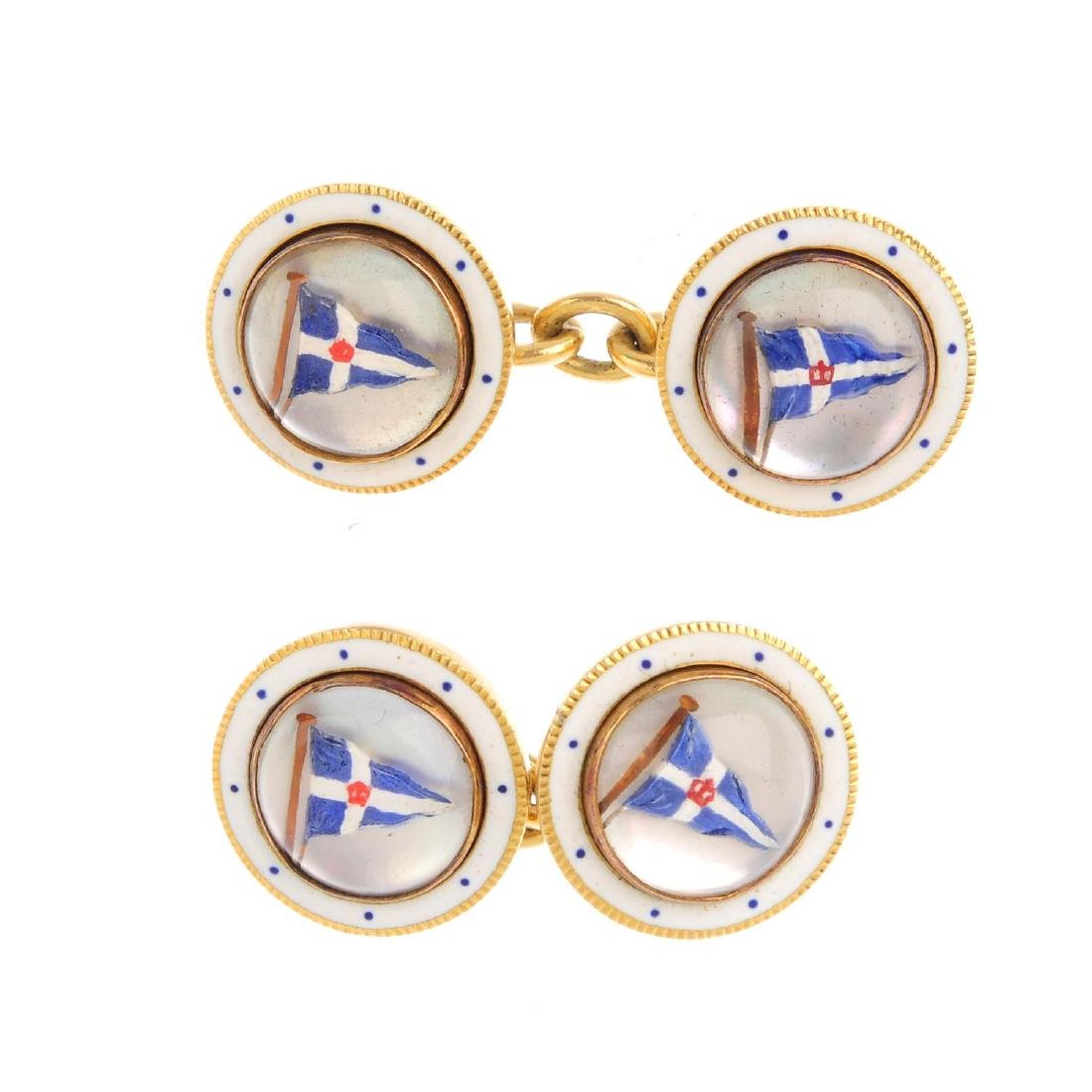A pair of early 20th century enamel cufflinks. Of
