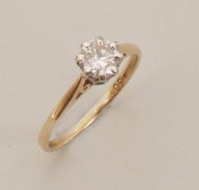 9ct Gold Single Stone Round Brilliant Diamond Set R