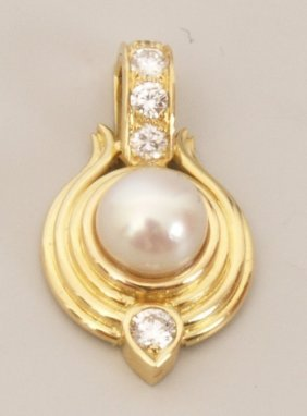18ct Gold Diamond And Cultured Pearl Pendant With F
