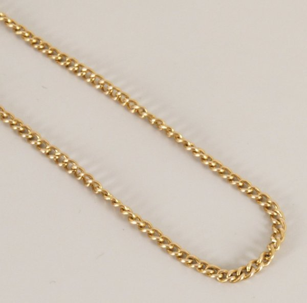 98: 15ct gold close curb link guard chain. Length - 174