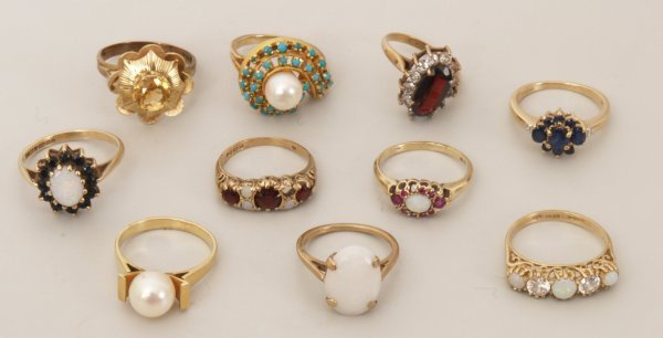 108:  A collection of ten 9ct gold rings to include an