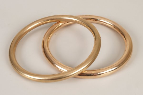 314: Two 9ct gold slave bangles (hallmarked Birmingham