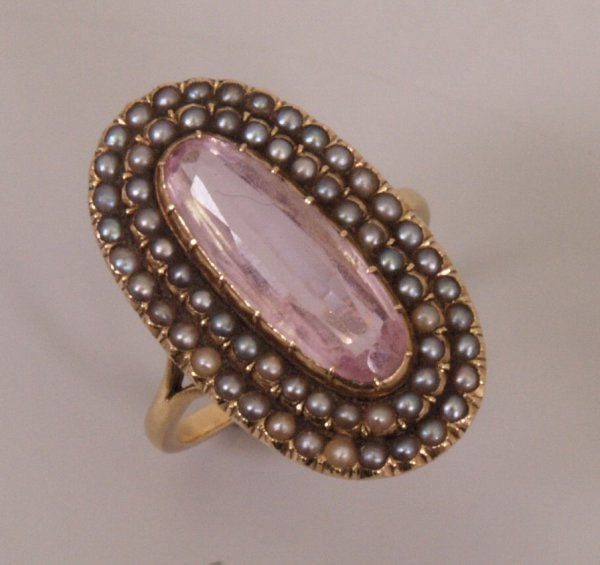 442:  Early 20th Century pink topaz and seed pearl set