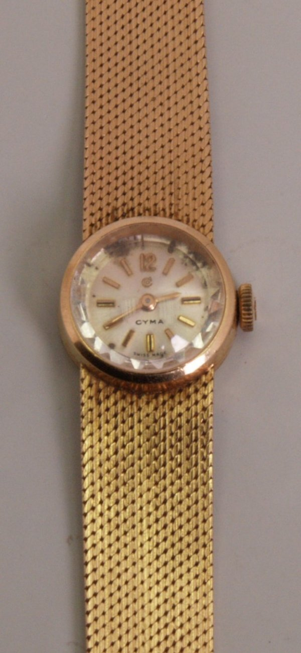 2023:  CYMA - a ladies 1980's 18ct gold dress watch the