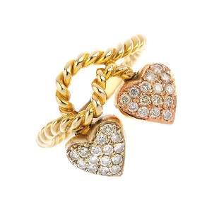 A diamond dress ring Of tricolour design the