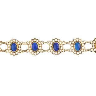 A 9ct gold opal triplet bracelet Designed as a series